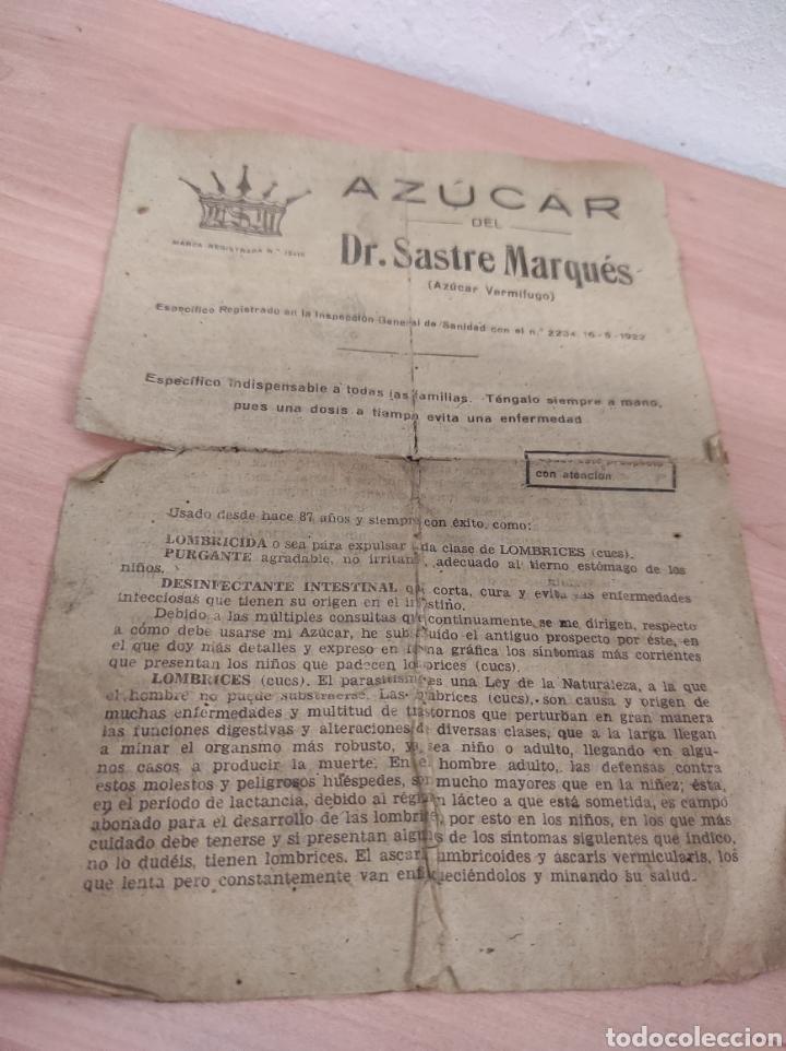 AZUCAR DEL DR. SASTRE MARQUÉS. -BARCELONA. FOLLETO PUBLICIDAD DEL MEDICAMENTO. AÑOS 40/50 (Coleccionismo en Papel - Varios)