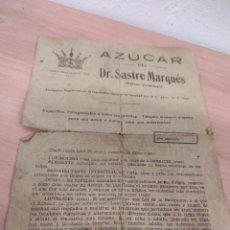 Coleccionismo Papel Varios: AZUCAR DEL DR. SASTRE MARQUÉS. -BARCELONA. FOLLETO PUBLICIDAD DEL MEDICAMENTO. AÑOS 40/50. Lote 289714863
