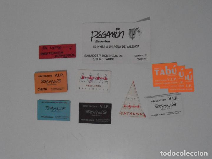 LOTE PASES VIP, INVITACIONES, ENTRADAS A DISCOTECAS Y PUBS DE VALENCIA, AÑOS 80 (Coleccionismo en Papel - Varios)