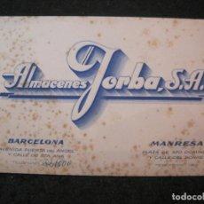 Coleccionismo Papel Varios: BARCELONA-MANRESA-ALMACENES JORBA-PUBLICIDAD ANTIGUA-VER FOTOS-(84.993). Lote 293835083