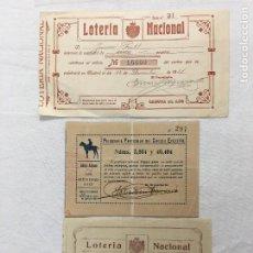 Coleccionismo Papel Varios: LOTE DE 3 PARTICIPACIONES DE LOTERÍA NACIONAL DEL SORTEO DE NAVIDAD DE 1921.. Lote 293904858