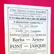 Coleccionismo Papel Varios: LUCHA LIBRE - 1946 - CINE TEATRO CENTRO ESPAÑOL. Lote 297037978