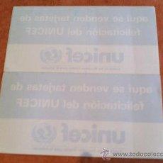 Pegatinas de colección: 2 PEGATINAS DE UNICEF AÑOS90 MUY DIFICILES DE ENCONTRAR. Lote 27435644