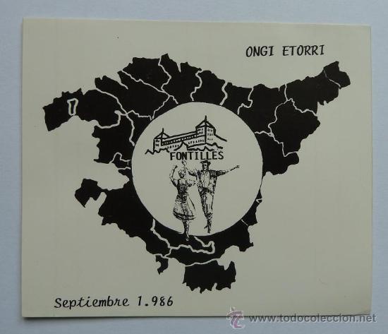 PEGATINA ANTIGUA EUSKADI PAIS VASCO SEPTIEMBRE 1986 ONGI ETORRI SANATORIO DE FONTILLES EH (Coleccionismos - Pegatinas)