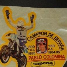 Pegatinas de colección: ADHESIVO / PEGATINA. KTM. PABLO COLOMINA CAMPEÓN DE ESPAÑA 1984-85. NUEVO SIN DESPEGAR. 10, 5 X 11. Lote 35798997