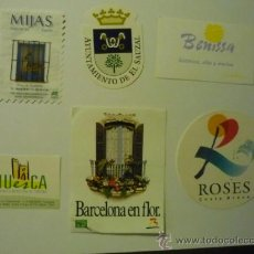 Pegatinas de colección: LOTE PEGATINAS ADHESIVOS TURISTICAS .-HUESCA.-BENISSA- ROSES.-MIJAS-BARCELONA-SAUZAL. Lote 38090543