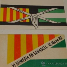 Pegatinas de colección: ADHESIVO / PEGATINA. ROMERÍA EN SABADELL 1982 Y CÓRDOBA EN CATALUÑA 1980. Lote 39022859