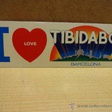 Pegatinas de colección: ADHESIVO / PEGATINA. I LOVE TIBIDABO. AÑOS 80'S / BARCELONA.22 X 7 CM. SIN DESPEGAR.. Lote 39176668