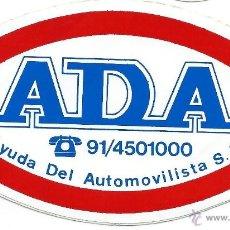 Pegatinas de colección: PEGATINA ADHESIVO ANTIGUA COCHES - ADA - AYUDA DEL AUTOMOVILISTA - AÑOS 80. Lote 39867042
