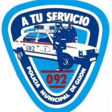 Pegatinas de colección: PEGATINA ADHESIVO ANTIGUA - POLICIA LOCAL GIJÓN 092 - AÑOS 80. Lote 39905864