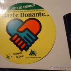 Pegatinas de colección: ANTIGUA PEGATINA JUNTA DE ANDALUCIA HAZTE DONANTE. Lote 41275320