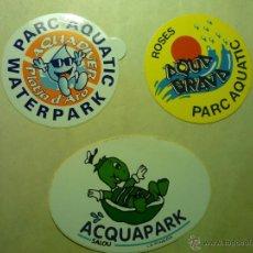 Pegatinas de colección: LOTE PEGATINAS ADHESIVOS PARQUES ACUATICOS.ROSES-PLATJA D´ARO-SALOU. Lote 42874130