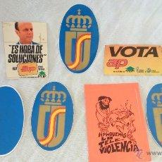 Pegatinas de colección: LOTE ADHESIVOS PEGATINAS POLITICAS AÑOS80 UPV PDP ALIANZA POPULAR COMUNISTAS. Lote 42877763