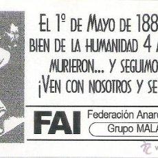 Pegatinas de colección: PEGATINAS POLITICAS - 1 PEGATINA POLITICA FAI - GRUPO ANARQUISTA MALATESTA ( SEVILLA ). Lote 194731465