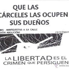 Autocolantes de coleção: PEGATINAS POLITICAS - 1 PEGATINA POLITICA CNT-AIT - QUE LAS CARCELES LAS OCUPEN SUS DUEÑOS. Lote 276246003