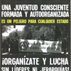 Autocollants de collection: PEGATINAS POLITICAS - 1 PEGATINA POLITICA CNT-AIT - ORGANIZATE Y LUCHA SIN LIDERES NI JERARQUIAS. Lote 269787013