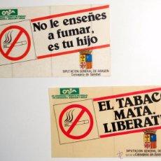 Pegatinas de colección: LOTE 2 PEGATINAS. CAMPAÑA ANTI-TABACO. DIPUTACION GENERAL DE ARAGON. DGA AÑOS 80.CONSEJERIA SANIDAD . Lote 50240059