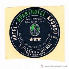 Pegatinas de colección: PEGATINA ANTIGUA HOTEL - APARTHOTEL AFONSO V AVEIRO ROTA DA LUZ PORTUGAL A COZINHA DO REI. Lote 50949446