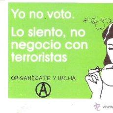 Autocolantes de coleção: PEGATINAS POLITICAS - 1 PEGATINA POLITICA CNT-AIT - YO NO VOTO. Lote 276245888
