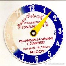 Pegatinas de colección: ALCOY (ALICANTE) - PEGATINA PARA LA HORA AZUL CON PUBLICIDAD JAVIER COTS MESTRE RECAUCHUTADOS. Lote 51073020