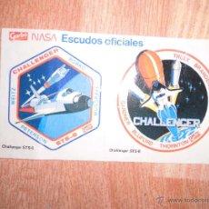 Pegatinas de colección: PRECIOSAS Y ANTIGUAS PEGATINAS NAVE ESPACIAL DE LA NASA CHALLENGER ESCUDO OFICIAL. Lote 52531365