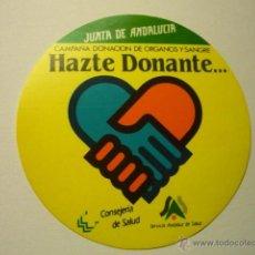 Pegatinas de colección: PEGATINA JUNTA ANDALUCIA-HAZTE DONANTE.-. Lote 53049069
