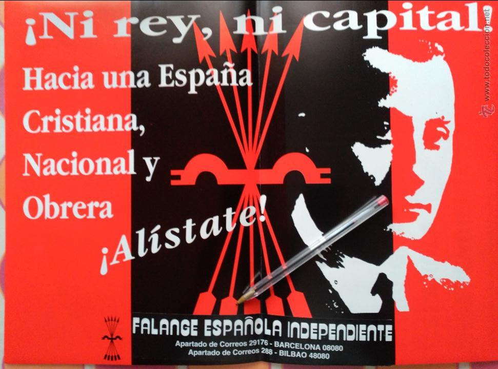 CARTEL PEGATINA FALANGE INDEPENDIENTE FEI JONS BILBAO BARCELONA (Coleccionismos - Pegatinas)