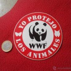 Pegatinas de colección: PEGATINA ADHESIVO STICKER POLITICA REIVINDICATIVA ECOLOGIA ECOLOGISMO YO PROTEJO LOS ANIMALES WWF ID. Lote 53567021