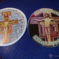Pegatinas de colección: LOTE 16 PEGATINAS RELIGIOSAS FRANCISCANOS, CIRCULARES, 2 MODELOS.. Lote 97642379