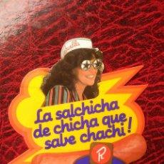 Pegatinas de colección: PEGATINA LA SALCHICHA DE CHICHA QUE SABE CHACHI. Lote 53769301