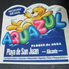 Pegatinas de colección: PEGATINA ADHESIVO PARQUE DE AGUA AQUAZUL PLAYA DE SAN JUAN ALICANTE. Lote 54049601