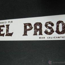 Pegatinas de colección: PEGATINA ADHESIVO DISCO BAR EL PASO BIAR ALICANTE. Lote 54069085