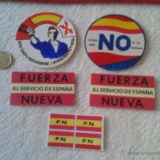 Pegatinas de colección: LOTE DE 5 PEGATINAS POLITICAS PEGATINA POLITICA FUERZA NUEVA FN FALANGE 20 NOVIEMBRE VER FOTO/S Y DE. Lote 54181560