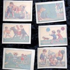 Pegatinas de colección: 6 CALCOMANIAS NIÑOS JUGANDO - ANIMALES -. Lote 57402071