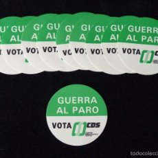Pegatinas de colección: PROPAGANDA ELECTORAL 1977. LOTE DE 10 ADHESIVOS CDS GUERRA AL PARO. 7 CM.. Lote 57849339