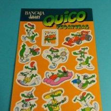 Pegatinas de colección: HOJA CON 12 PEGATINAS QUICO, OBSEQUIO DE BANCAJA JOVEN. FORMATO 15 X 23 CM. Lote 191059210