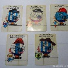Pegatinas de colección: LOTE DE 5 ADHESIVOS MUNDIAL FUTBOL 1982 NARANJITO (ALICANTE, VIGO, CORUÑA,MALAGA Y SEVILLA). Lote 58228882