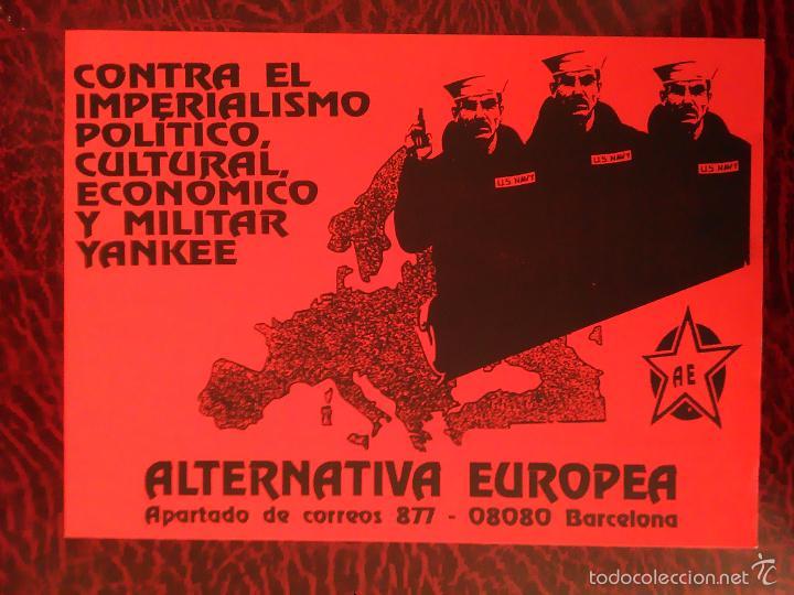 PEGATINA POLITICA ALTERNATIVA EUROPEA CONTRA EL IMPERIALISMO YANKEE (Coleccionismos - Pegatinas)