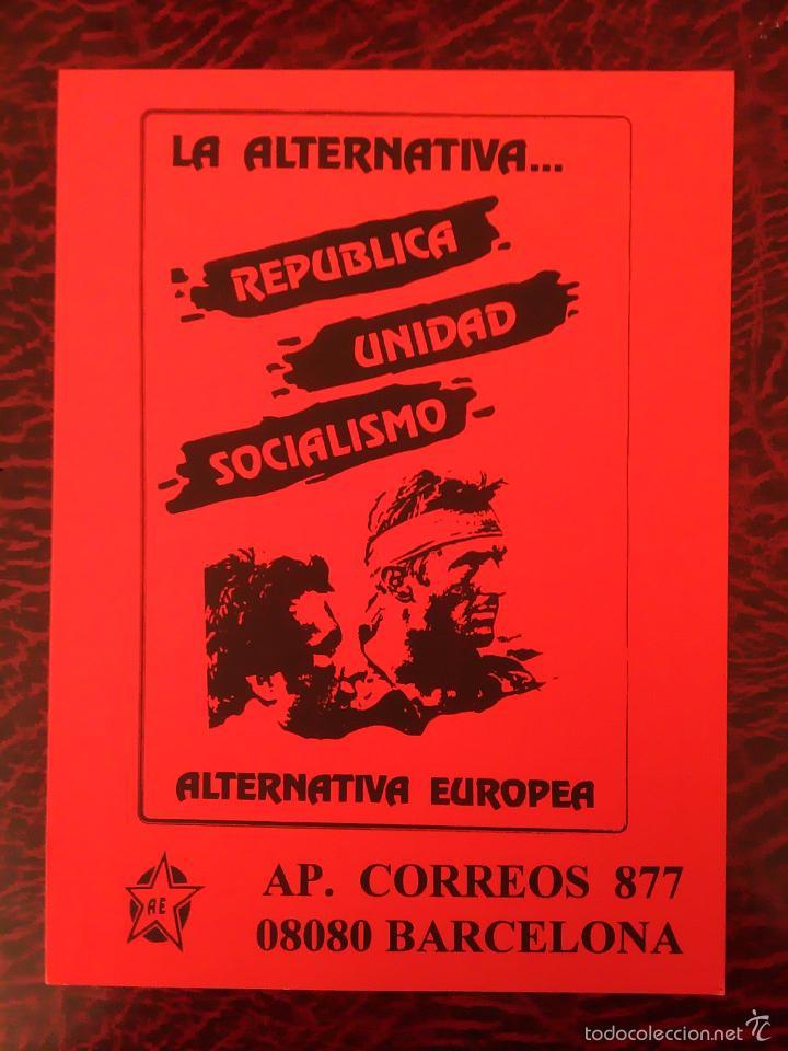 PEGATINA POLITICA ALTERNATIVA EUROPEA REPÚBLICA UNIDAD SOCIALISMO (Coleccionismos - Pegatinas)