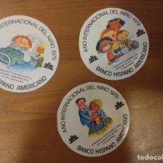 Pegatinas de colección: LOTE 3 PEGATINAS BANCO HISPANO AMERICANO AÑO INTERNACIONAL DEL NIÑO 1979 . Lote 61699984