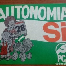Pegatinas de colección: AÑOS 70, PEGATINA POLITICA, PCA, PARTIDO COMUNISTA DE ANDALUCIA, AUTONOMIA SI. Lote 69745253