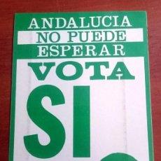 Pegatinas de colección: AÑOS 70,PEGATINA POLITICA PTA, PARTIDO DE LOS TRABAJADORES DE ANDALUCIA,VOTA SI. Lote 69745581
