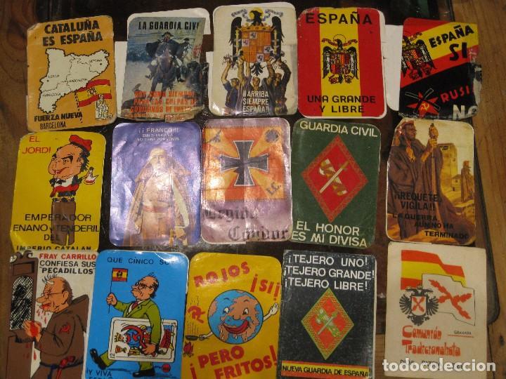 GRAN LOTE 15 PEGATINA POLITICA ESPAÑA FRANCO TEJERO GUARDIA CIVIL REQUETES LEGION FUERZA NUEVA (Coleccionismos - Pegatinas)