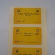 Pegatinas de colección: 3 PEGATINAS ADHESIVOS HOTEL PRINCESA SOFIA BARCELONA NUNCA PEGADOS. Lote 72872203