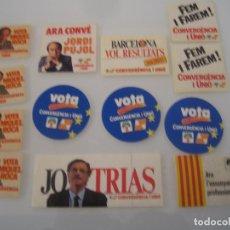 Pegatinas de colección: INTERESANTE LOTE 13 ADHESIVOS PEGATINAS POLITICAS CONVERGENCIA I UNIO JORDI PUJOL NUNCA PEGADOS. Lote 72872359