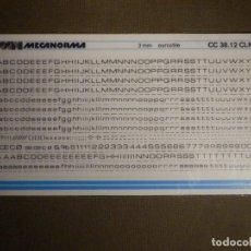 Pegatinas de colección: MECANORMA - NÚMEROS Y LETRAS TRANSFERIBLES - 3 MM. - EUROSTILE - CC 38.12 CLN - NUEVO. Lote 74651607