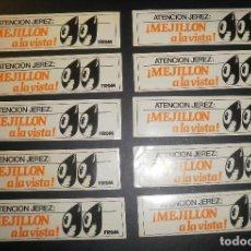 Pegatinas de colección: PEGATINAS ADHESIVOS. JEREZ FROM MEJILLÓN A LA VISTA. AÑOS 80/90, LOTE DE 10. Lote 76809427