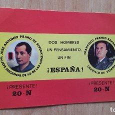 Pegatinas de colección: PEGATINA POLITICA JOSE ANTONIO PRIMO DE RIVERA - FRANCISCO FRANCO FALANGE. Lote 81718252