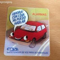 Pegatinas de colección: ALARMAS EDIA SINTETIZADOR DE VOZ PARA AUTOMOVILES. Lote 86000652