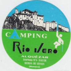 Pegatinas de colección: PEGATINA CAMPING RIO VERO ALQUÉZAR HUESCA ARAGÓN SIERRA DE GUARA . Lote 92274150